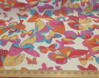 """Multi Color Butterflies 100% polyester chiffon fabric 58"""" wide sold by the yard"""