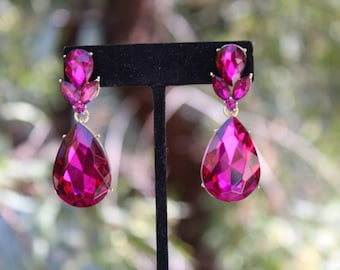 surgical pair stud earrings of steel pink round silver crystal gem rose stainless stone fuschia dp