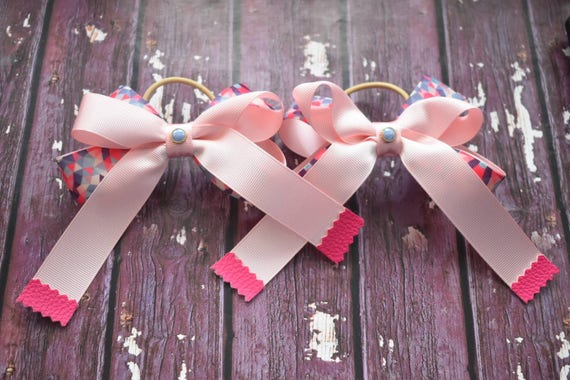 Pair of pink and blue geometric print bows / hair ties / pigtail bows / pony tail ties / flowergirl bow / birthday bows / grosgrain  bow
