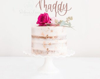 Cake Topper | name | custom calligraphy | Metallic | Glitter | Gold | Wood | Rose Gold |