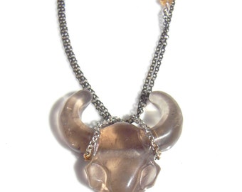 Smoky Quartz Bull Skull | READY to SHIP | Spirit Necklace Handcarved Gemstone Necklace with Sterling Silver, Taurus Necklace