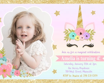 Unicorn Birthday Invitation, Magical Birthday, Magical, Unicorn Party, Photo  - Digital or Printed