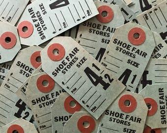 Vintage Paper Tags - Set of 10 - Vintage Tags, Vintage Shoe Tags, Vintage Ephemera, Junk Journal Ephemera, Green Tags, Vintage Number Tags