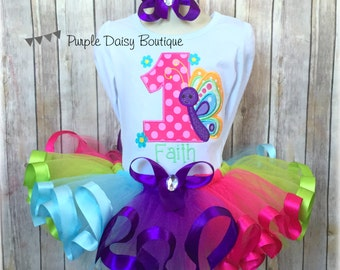 Butterfly Birthday Outfit - Spring Birthday Ribbon Trim Tutu Outfit - First Birthday Outfit - Rainbow Tutu Outfit