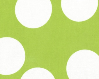 Lime Green and White Large Polka Dot Patterned Fabric - Half Moon Modern by Moda 1/2 Yard