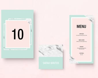 menu and seats chart for wedding with pastel and marble