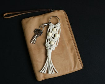 Macrame Keychain Keyring Bag Charm White Silver Handmade