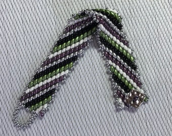 Multi color Superduo bead bracelet, Peyote stitch, diagonal pattern