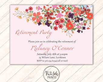 Retirement Invitation, Floral Retirement Party, Retirement Party Invitation, Retirement Printable, Pink Floral Birthday Party