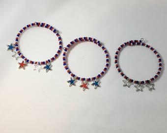 4th of July Memory Wire Bracelet, Red, White & Blue Memory Wire Bracelet, Red, White and Blue Bracelet