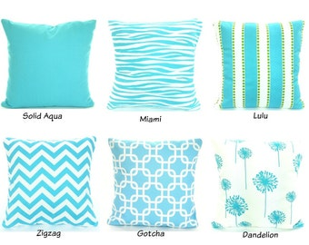 Aqua Pillow Covers, Decorative Throw Pillow, Cushions, Aqua White Girly Blue, Couch Bed Sofa Pillows, One or more ALL SIZES Mix & Match Set