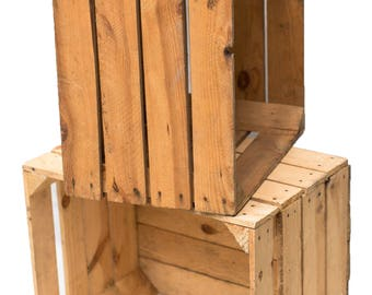 Obstkiste Crate Wooden Box Nature shabby 50 cm set of 2 vintage stable and clean