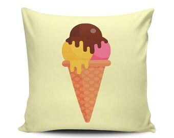 Three Balls - Throw Pillow - Home Decoration, Couch, Sundae, Dessert, Food, Vector Art