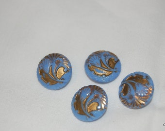 lot of 4  vintage blue glass carved surface with good accents metal shanks   #0031