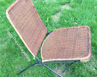 Vintage MCM Outdoor Wicker / Metal Folding Chair - Patio Furniture- Lounge Chair