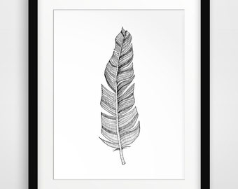 Feather Sketch, Feather Drawing, Sketches, Feather Print, Feather, Illustrations, Feather Wall Art, Bohemian Art