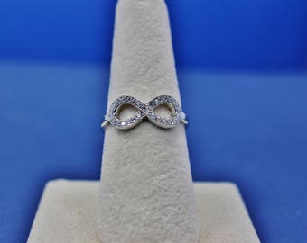 Sterling Silver Infinity White Diamond CZ Ring