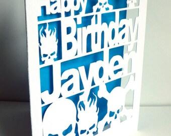 Birthday Card, Skull, Cut Out Card,  skull Birthday Card, Personalised Birthday Card