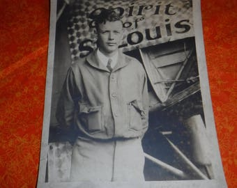 Vintage Charles Lindbergh Spirit of St Louis photograph  Aviation Collectible