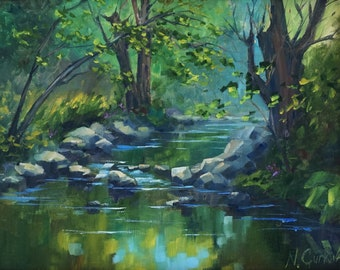Plein air landscape painting, Original oil painting, tree woods river painting, 12*16 inch by Nadia Gurkova