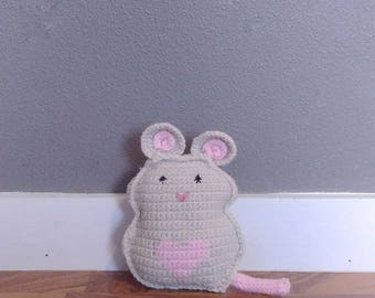 Rag Doll Mouse; stuffed crochet amigurumi, ragdoll animal, made to order, gift for kids, baby shower gift, nursery decor, stuffed mouse toy