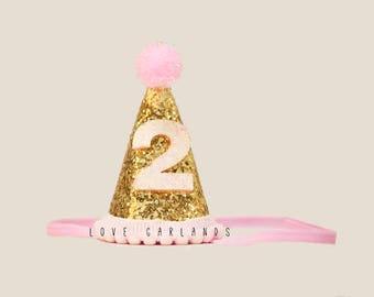 Second Birthday Glitter Felt Birthday Hat, Second Birthday Hat, 2 year old Birthday Hat, Felt Birthday Hat, Gold Glitter Birthday Hat
