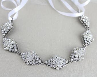 Bridal headband, Wedding headpiece, Bridal hair piece, Crystal Head piece, Vintage style headband, Antique silver, Swarovski headband