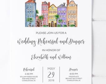 Rainbow Row Charleston South Carolina Original Watercolor Wedding Rehearsal Dinner Invitations Charleston Wedding SC Wedding Invites