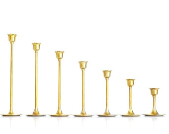 Brass Candlesticks Brass Candle Holders Set of 7 Graduated Brass Candlesticks Wedding Candlesticks Brass Candlesticks