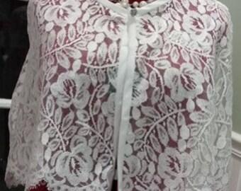 Lace Capelet,White Lace Bridal Capelet,Formal Wedding Cape,Bridal Cover up
