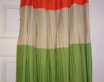 Vintage Pleated Skirt Orange Green Tan by Alix of Miami Tansad Feminine Sportswear Accordion Pleats