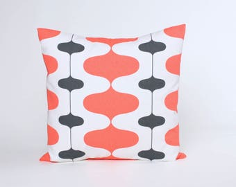 Charcoal and Salmon on White Pillow Cover in Premier Print Iron Pattern. Accent Pillow, Throw Pillow Covers Fit 16, 18, 20 or 22 Inch Insert