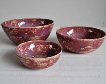 Ceramic Bowls - Three handmade stoneware bowls - Lilac/Purple/Pink