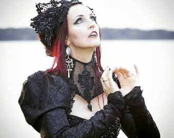 Gothic Crown Crown Headpiece Wicca occult queen Headdress Headwear lace Lace