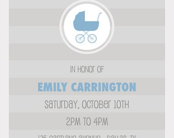 Modern Carriage in Blue Baby Shower Invitation- PRINTABLE