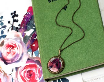 Mucha Art Print vintage style pendant poppy necklace