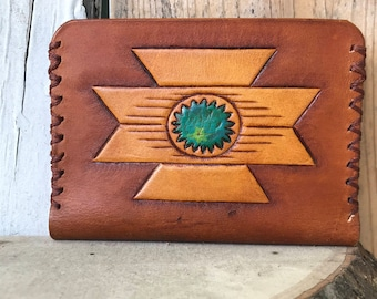 Turquoise Wallet, Southwestern Wallet, Slim Cardholder, Leather Accessories, Leather Wallet, Personalized Wallet, Leather Wallet