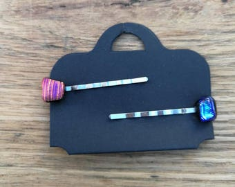 Pair Bobby Pins, Kirby Grips Shimmer Disco Pink and Electric Blue