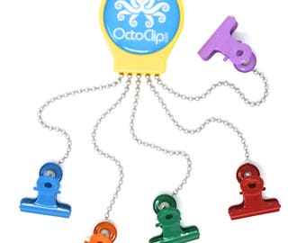 OctoClip Refrigerator Magnet –Fridge Organizer Locker Magnet Yellow with Multicolored Clips, 1 Pack