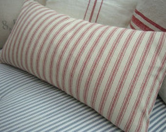 French Cottage 22x12/Ticking/Down Pillow/Woven Linen/Paris Shabby Chic Stripe/Urban Loft/Red Ticking/Bedroom/Farmhouse