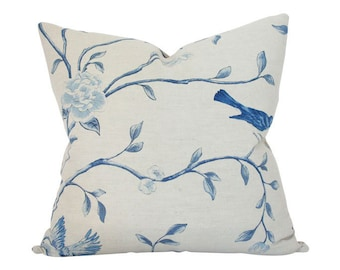 Blue & Taupe Chinoiserie Designer Pillow Cover - Custom Made-to-Order - Floral Decorative Pillow for Bed