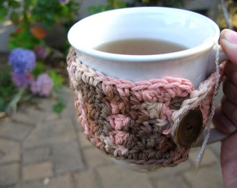 Multi color cup cozy, crochet cotton cup warmer,  tea lover gift