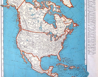 Map of North America - 1937 Vintage Rand McNally Map World Atlas 1 Sided - 14 x 11