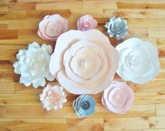 Set of 9 Paper Flowers - Baby Nursery | Home Decor | Flower Wall | Paper Flower Backdrop | Baby Shower | Little Girl's Room