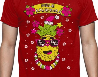 Mele Kalikimaka Hawaiian Pineapple Ugly Christmas Sweater T-Shirt