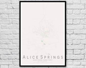 ALICE SPRINGS, Northern Territory City Street Map Print | Wall Art Poster | Wall decor | A3 A2