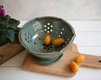 Berry bowl, ceramic berry bowl, green colander, strainer, fruit bowl, pottery strainer, serving bowl, kitchenware, christmas gift