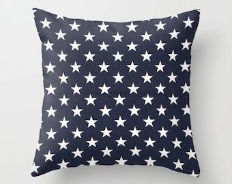 Stars Pillow Cover Navy Pillow Nautical Pillow Throw Pillow Patriotic Pillow Size Choice