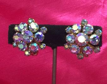 Pretty Blue Aurora Borealis Vintage Glass Rhinestone Earrings