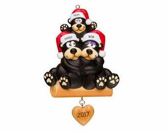 Personalized Huggable Black Bear Family Christmas Ornament - Family of 3